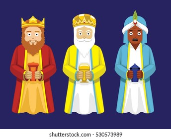 Three Wise Men Cartoon Characters Illustration