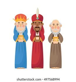 Three wise men cartoon with gift design