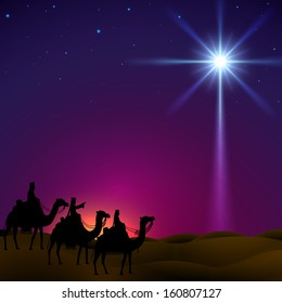 Three wise men follow the star of Bethlehem. EPS 10, contains trasparency.