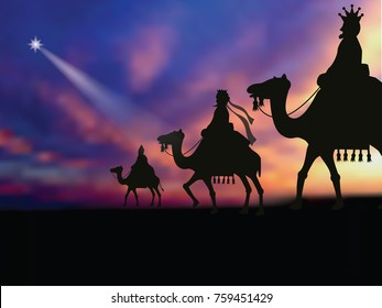Three wise men following the star to baby Jesus. EPS 10 vector illustration.
