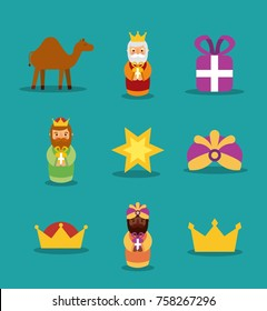 three wise men icons magic kins presents star crown camel