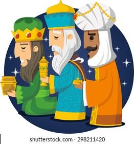 Three Wise Men, the three Kings, Melchior, Gaspard and Balthazar. Vector illustration cartoon.