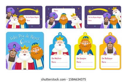 Three Wise Men label collection in Spanish. Seven cartoon labes with the kings of Orient, perfect for children gifts in Epiphany day.