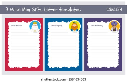 Three wise men letter template set in English. Din A4 vertical format, one template for each king of Orient.
