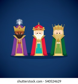 Three wise men (magic kings) bringing gifts to Jesus