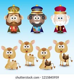Three Wise Men Nativity Scene Characters Set Cute Cartoon Vector Illustration