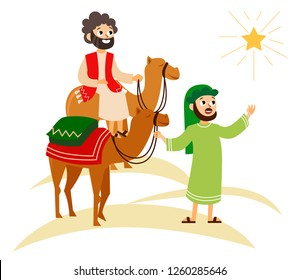 Three wise men on camels going to Bethlehem