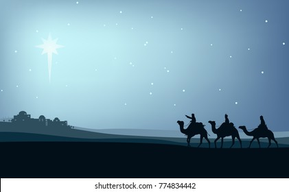 the three wise men on camels through the desert with the star of bethlehem