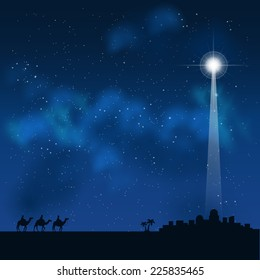 three wise men on the way to see a baby Jesus in Bethlehem