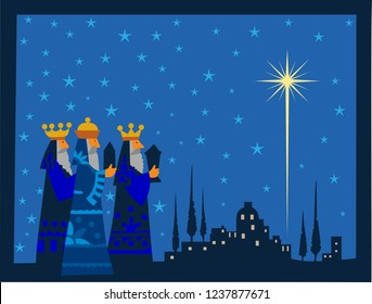 Three wise men and shining star of Bethlehem