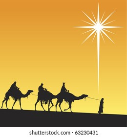 Three wise men and shining star of Bethlehem.