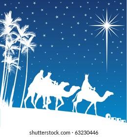 Three wise men and shining star of Bethlehem