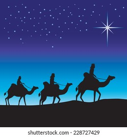 Three wise men silhouette. Three wise men on camels following the star.