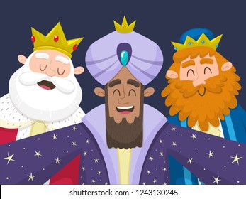 Three Wise Men taking a selfie. Cartoon illustration of the three kings of Orient: Melchior, Balthazar and Gaspard. Vector illustration.