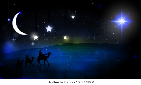 The three wise men travel by the strange star, leading to the village of Bethlehem to find the place where Jesus was born.