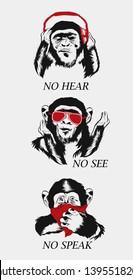 Three сool wise monkey. See no Evil, Hear no Evil, Speak no Evil