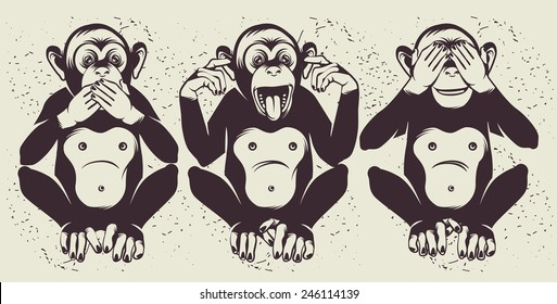 The Three Wise Monkeys (also called the Three Mystic Apes)