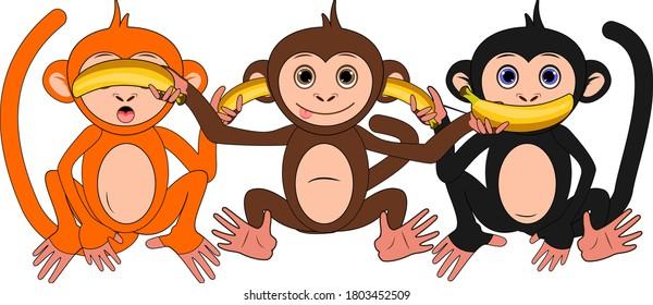 The three wise monkeys with bananas, see no evil, hear no evil, speak no evil. Cute cartoon vector illustration.