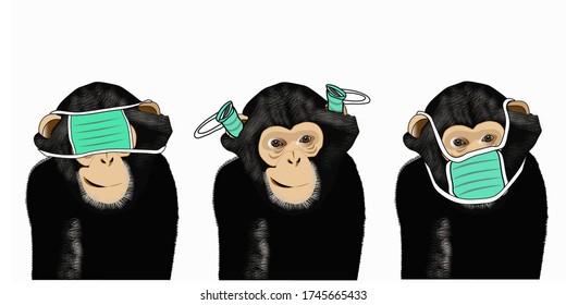 Three wise monkeys or the concept of see no evil, hear no evil and speak no evil illustration, using medical masks