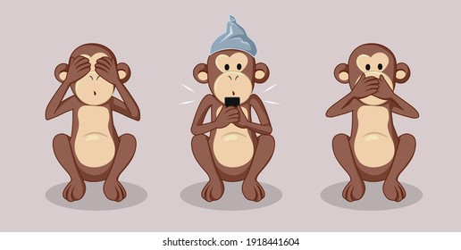 Three Wise Monkeys and Conspiracy Theories Concept Illustration. Social media allowing misinformation to circulate