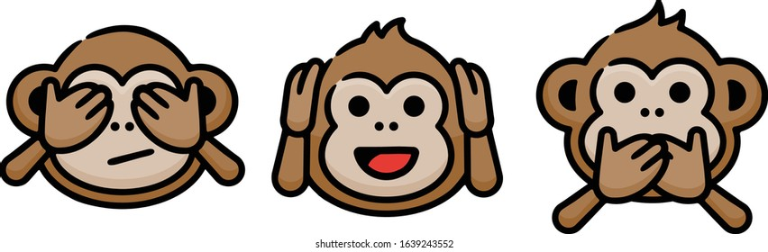 Three Wise Monkeys Doodle Sketch Icons