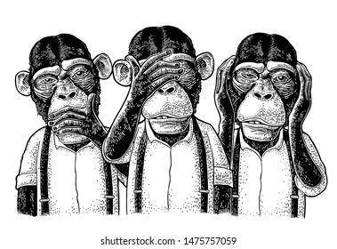 Three wise monkeys with hand on ears, eyes, mouth. Not see, not hear, not speak. Vintage black engraving illustration for poster, web, t-shirt, tattoo. Isolated on white background