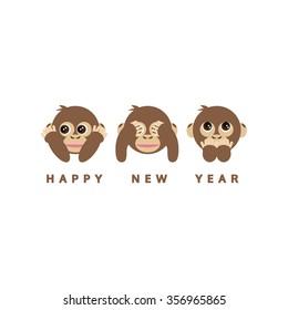 three wise monkeys, happy new year 2016 card, vector
