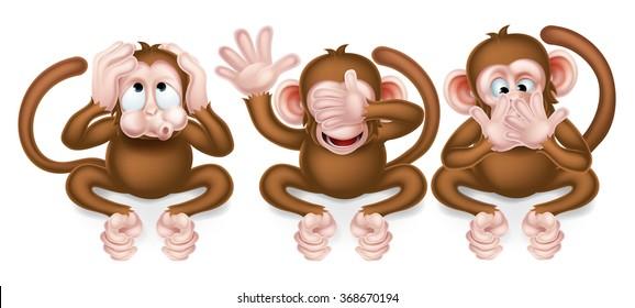 The three wise monkeys, hear no evil, see no evil, speak no evil