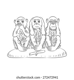 Three wise monkeys. Proverbial principle to «see no evil, hear no evil, speak no evil». Outline silhouettes. Vector illustration