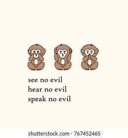 Three wise monkeys sanzaru japanese proverb see no evil, hear no evil, speak no evil