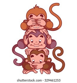 Three wise monkeys. Symbol of 2016 - a monkey. Vector Cartoon character on a white background.