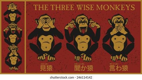 The three wise monkeys.Mizaru, covering his eyes, sees no evil. Kikazaru, covering his ears, hears no evil. Iwazaru, covering his mouth, speaks no evil.
