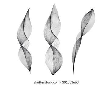 Three Wisps of Black Smoke On White Background