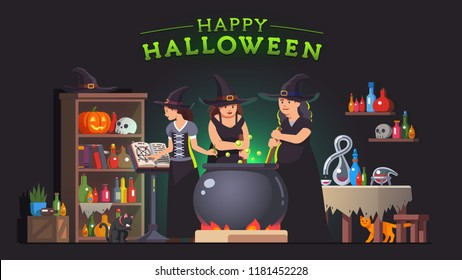 Three witches stirring poison brew potion in boiling cauldron on fire and reading magic spells from grimoire book. Witch alchemy lab room interior. Halloween holiday witchcraft flat vector illustratio