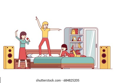 Three woman bachelorette home bedroom sleepover karaoke party. Friends having fun singing together, partying, dancing on bed. Flat style thin line vector illustration isolated on white background.