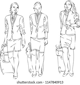 The three woman are one of the flight attendant whom are about to depart on a plane.