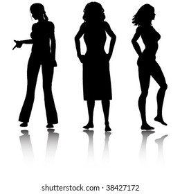 three woman silhouettes