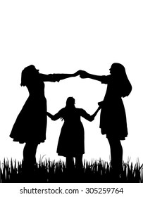 Three woman together silhouette on white, vector