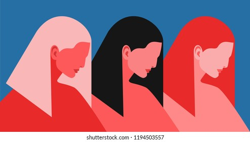 Three women. Abstract female portraits in profile - blond, brunette and red. Vector illustration