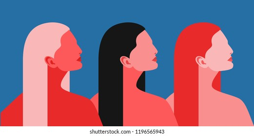 Three women. Abstract female portraits, side view - blonde, brunette and redhead. Vector illustration
