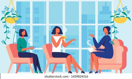 Three Women Communicate on Background Panoramic Window. Psychology Training for Women. Vector Illustration. Blue Interior. Communication Coach and Client. Women Sitting on Red Chair. Lead Discussion.