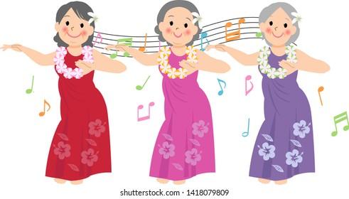 Three women dancing hula dance