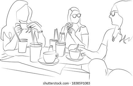 Three women drinking coffee line art