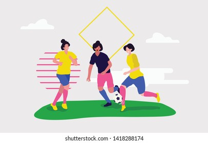 Three women girls are playing football soccer together trying to grab the ball from her opponent but she running fast in the stadium field