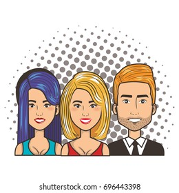 three women and man portrait pop art comic style