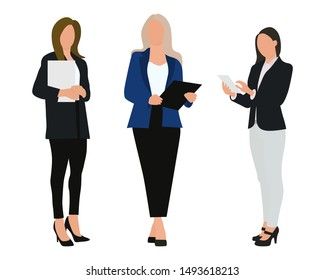 Three women. People at work. Vector characters, flat icon, isolated on white background.