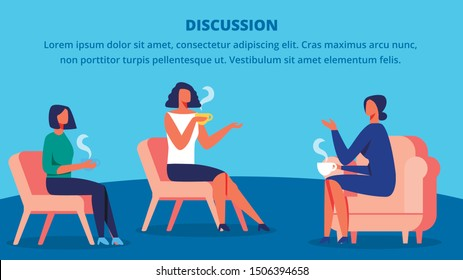 Three Women in Red Chairs Drink Tea and Discussion. Training for Women. Vector Blue Background. Communication Coach and Client. Woman Sitting on Chair in front Each Other. Lead Discussion