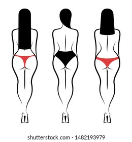 Three women in underpants standing backside. Isolated vector illustration