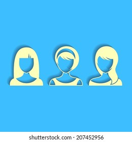 Three women vector user profile icon on blue background