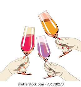 Three women's hands with colored nails holding the glasses with drinks. Vector illustration on white background